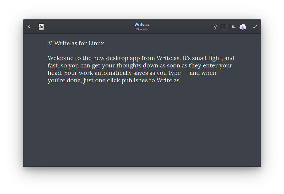 Screenshot of the Write.as app